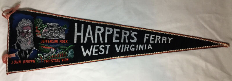 "VINTAGE HARPER'S FERRY WEST VIRGINIA FELT PENNANT, JOHN BROWN~JEFFERSON ROCK 27"""