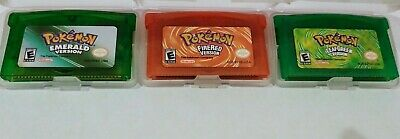 Pokemon Emerald Fire Red Leaf Green GBA Game boy Advance combo pk 3 games -