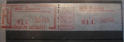 ** SbPA Einschreibemarke Dresden 3/8032-(2)  DDR