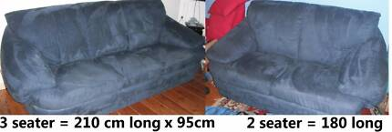 2 blue/grey suede couches - 3 & 2 seaters will seperate - pick up Brunswick West Moreland Area Preview