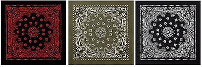 Extra Large Bandana THREE PACK - 100% Cotton Jumbo 27