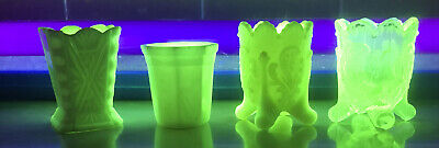 Vaseline  Glass Toothpick Holders (4)