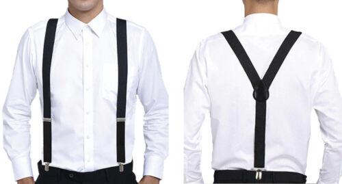 Unisex Mens Men Braces Plain Black Wide & Heavy Duty Suspenders Adjustable 55mm