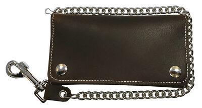 Biker Men's 7 in Premium Credit Card Tri-Fold Leather Wallet with Chain (Credit Card Tri Fold)