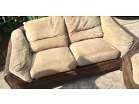 2x BROWN LEATHER AND CREAM SOFAS 🚚DELIVERY AVAILABLE 🚚