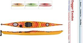 """Exodus Dagger sea kayak 16'10"""" long 59cm wide (large) with all accessories you need"""
