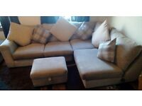 Fabric Corner Sofa, foot stool ans scatter cushions for sale