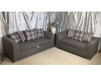 2017 new dylan range sofa 3 & 2 grey khadi fabric with spring base & foam seats corner furniture