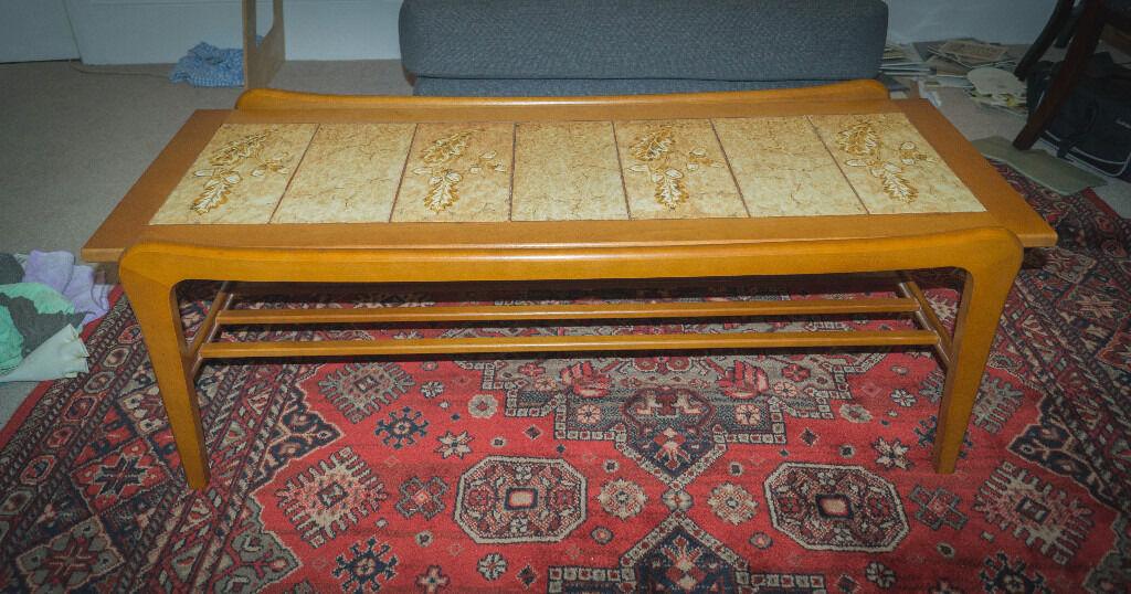 Vintage Retro Mid Century Modern Tiled Danish Teak Coffee Table
