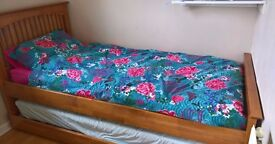 Single Wooden Bed Frame with Pullout Under bed