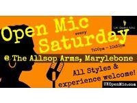 UK Open Mic   7pm   SATURDAY @ The Allsop Arms, Marylebone (Baker St/Edgware Rd/Regent's Park)