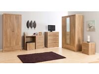 **BRAND NEW!** HOLLAND OAK BEDROOM FURNITURE WARDROBE CHEST OF DRAWERS BEDSIDE MIRROR WARDROBE