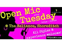 UK Open Mic | 7pm | TUESDAY @ The Reliance, Shoreditch (Old St, Hoxton, Liverpool St, Bethnal Green)