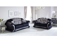 Versace Sofa 3+2 Black/Silver Crushed Velvet with Swarovski Crystals Only £899 For The Pair
