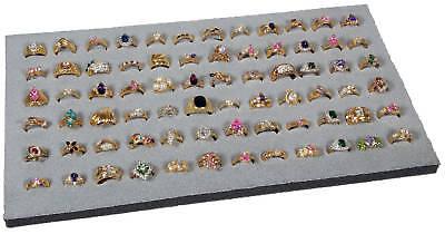 Foam 72 Slot Ring Display Pad Gray Felt Top Holds 72 Assorted Rings Organizer