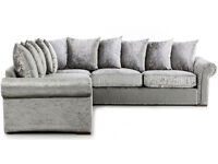 UK EXPRESS DELIVERY | LIVERPOOL GLB SILVER VELVET SOFA |1 YEAR WARRANTY | FOAM CUSHION |SPRING BASE