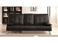 Brand New Click Clack 3 Seater Leather Sofa Bed with Cupholder in Black Brown Small Double Settee