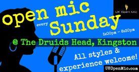 UK Open Mic | 5pm | EVERY SUNDAY @ The Druids Head, Kingston (Richmond, Surbiton)