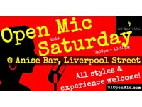 UK Open Mic | 7pm | SATURDAY @ Anise Bar, Liverpool St (Old St, Hoxton, Shoreditch, Bethnal Green)