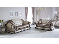 Versace Sofa 3+2 Mink/Champagne Crushed Velvet with Swarovski Crystals Only £899 for The Pair