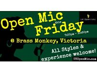 UK Open Mic | 7pm | FRIDAY @ Brass Monkey, Victoria (Westminster, Pimlico, Belgravia, Vauxhall)