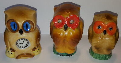 3 Vintage Cold Painted Milk Glass Bird Cage Feeders - OWL'S - JAPAN
