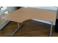 3 Beechwood effect office desks