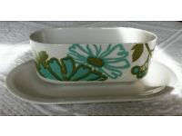VINTAGE VILLEROY & BOCH GRAVY BOAT CROCKERY TABLEWARE Turquoise Green White Floral Collectors Retro