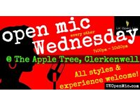 UK Open Mic | 7pm | WEDNESDAY @ The Apple Tree, Clerkenwell (Farringdon/Holborn/King's Cross)