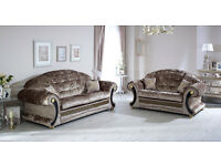 Versace Sofa 3+2 Mink Crushed Velvet with Swarovski Crystals Only £899 for The Pair