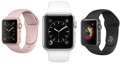 Apple Watch Series 2 38Mm 42Mm Aluminum Case Sport Band Black Gray Rose Gold