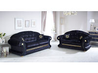 Versace Sofa 3+2 Black Crushed Velvet with Swarovski Crystals Only £899 for The Pair