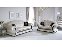 Versace Sofa 3+2 Champagne Crushed Velvet with Swarovski Crystals Only £899 for The Pair