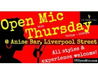 UK Open Mic | 7pm | THURSDAY @ Anise Bar, Liverpool St (Old St, Hoxton, Shoreditch, Bethnal Green)