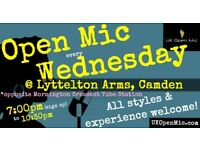 UK Open Mic | 7:00 pm | WEDNESDAY @ Lyttelton Arms, Mornington Crescent (Camden / King's Cross)
