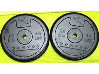 Domyos Weights ~ 2 x 20KG Rubber Weight Discs