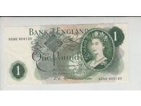 AB688. Bank of England £1 Banknote Series C. 1960-79 #N58D 904130.