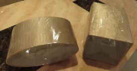 2 BRAND NEW MATCHING LAMPSHADES- GOLD/TAUPE COLOUR - FAUX LEATHER FEEL (Price TOTAL)