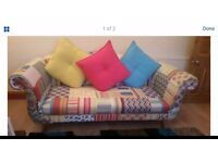 Fairground fabric sofa and chair from dfs