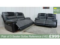 Designer Black and Grey Leather Pair of 3 Seater Sofas (162) £999