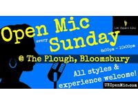 UK Open Mic | 7pm | SUNDAY @ The Plough, Bloomsbury (Tottenham Court Road/Holborn)