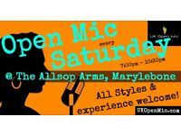 UK Open Mic | 7pm | SATURDAY @ The Allsop Arms, Marylebone (Baker St/Edgware Rd/Regent's Park)