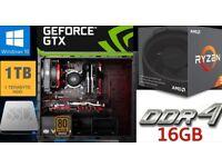 BRAND NEW GAMING/STREAMING PC | AMD RYZEN | GEFORCE GTX 10 SERIES GPU.| 16GB DDR4 RAM | SSD & HDD
