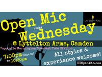UK Open Mic   7:00 pm   WEDNESDAY @ Lyttelton Arms, Mornington Crescent (Camden / King's Cross)