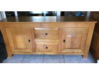 Solid French Oak wooden Sideboard with 2 cupboards & 2 draws