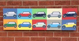 WALL ART RETRO MINI CANVAS TEN MINI CARS VERY CLEAN 40X12 INCHES PLEASE VEIW ALL PHOTOS