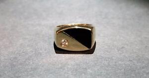 Men's 14K Diamond and Onyx Gold Ring