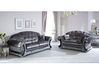 Versace Sofa 3+2 Silver Crushed Velvet with Swarovski Crystals Only £899 for The Pair
