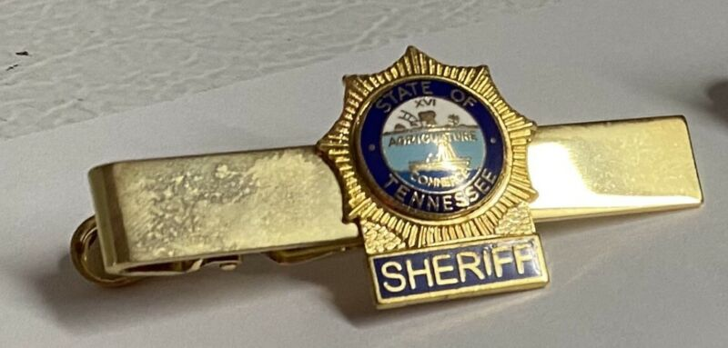 Tennessee TN Sheriff Tie Tack Bar Holder Gold Blue Letters on bottom