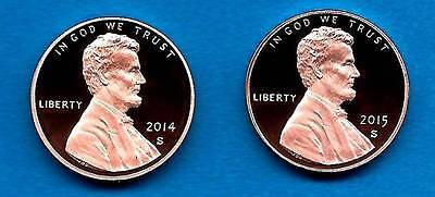 2014 S AND 2015 S PROOF LINCOLN CENTS  GEM PROOF DEEP CAMEO TWO COINS IN STOCK